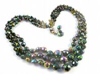 Vintage Triple Stranded Austrian Carnival Glass Bead Necklace.